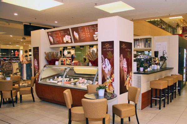 Das Eiscafé Da Capo im Blechen-Carre in Cottbus